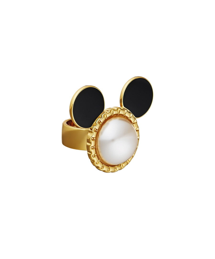 Mickey Head Ring with Ivory Pearl and Black Enamel Ears - Size 6