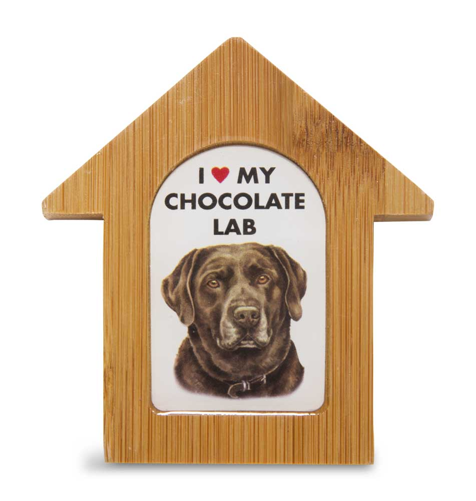 deal - Chocolate Lab Wooden Dog House Magnet. Self Standing