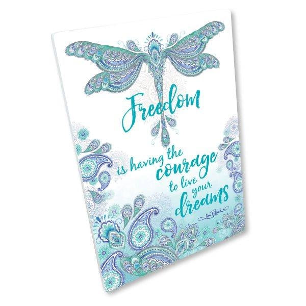 FREEDOM Inspirational Dragonfly Plaque