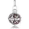Large Silver Pendant with Brown Soundball