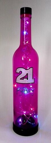 Star Bottle LED Party Light 21st Happy Birthday Pink
