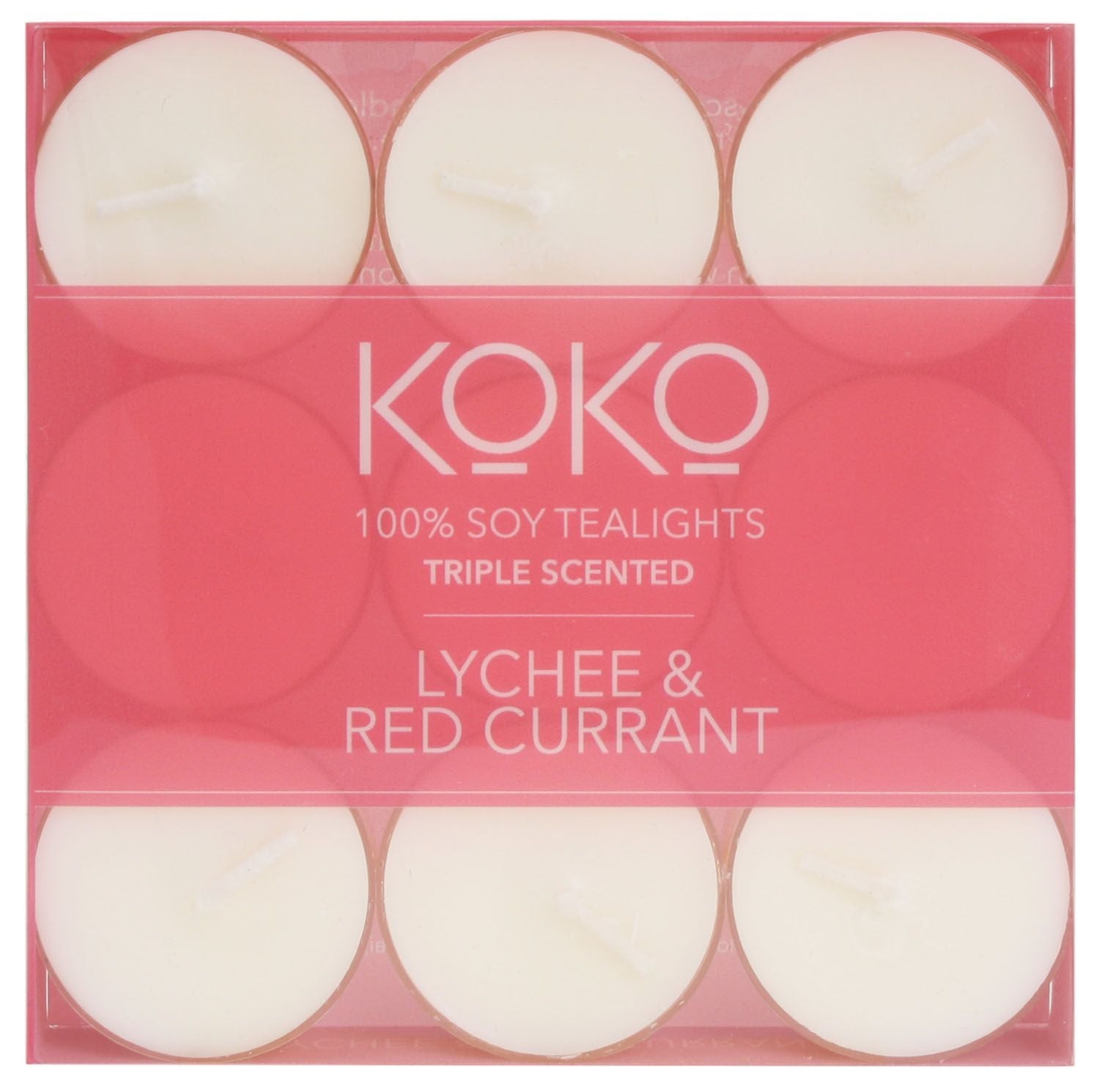 KOKO-TEALIGHTS-LYCHEE and RED CURRANT