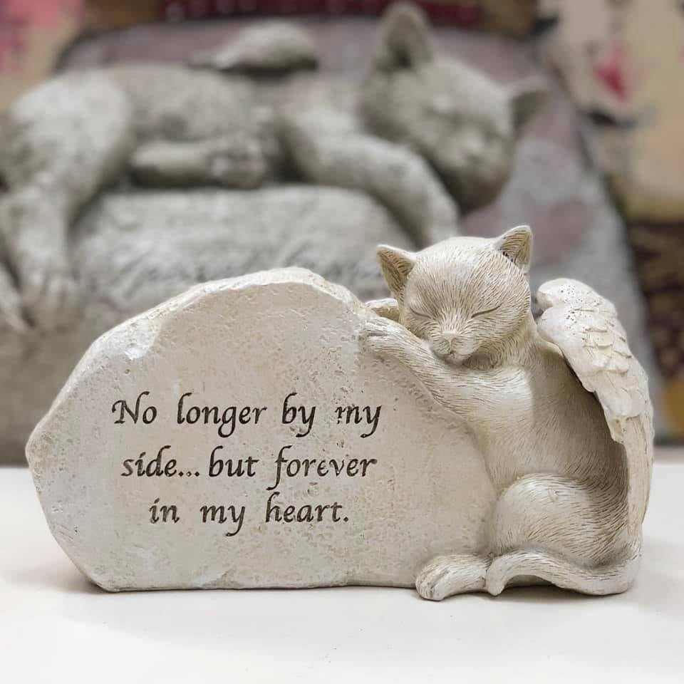 Memorial Cat Figurine Plaque