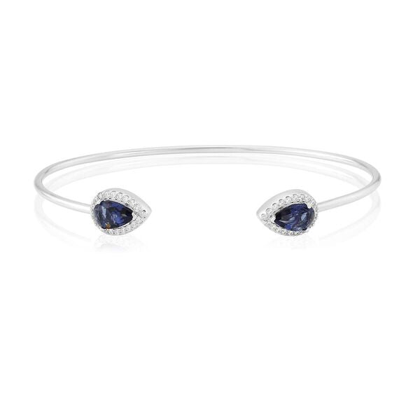 Bangle with Created Sapphire and Cubic Zirconia