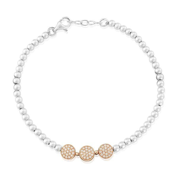 Bracelet Metallic Beaded with Cubic Zirconia Trio Discs