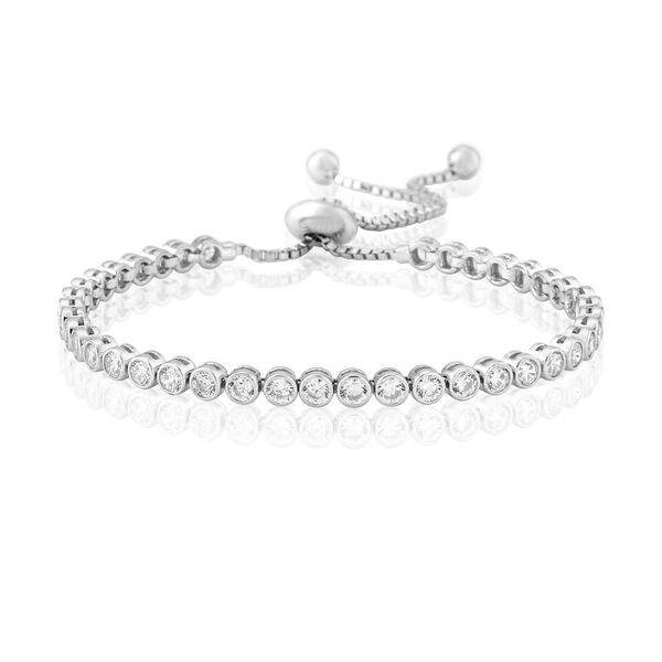 WHITE RUBOVER TENNIS BRACELET STERLING SILVER  WATERFORD
