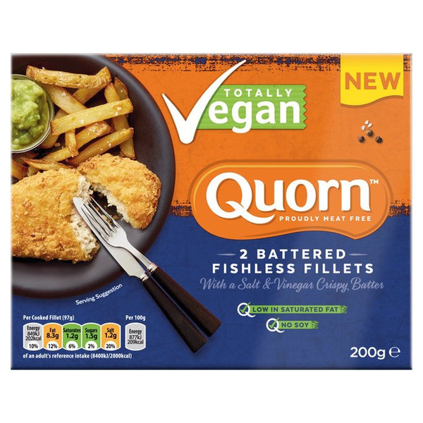 Quorn Totally Vegan 2 Battered Fishless Fillets