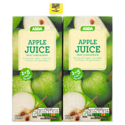 x2 ASDA 100% Pure Apple Juice Carton