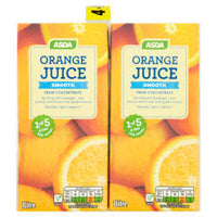 x2 ASDA 100% Pure Orange Juice Smooth