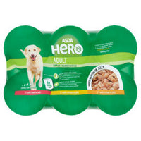 ASDA Hero with Meaty Chunks in Jelly Adult Dog Food Tins 6 PACK