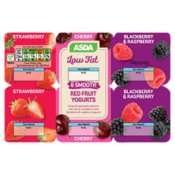 ASDA 6 Low Fat Red Fruit Yogurts