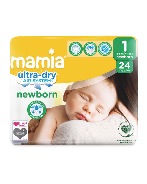 ALDI Mamia Newborn Size 1 - 24 Nappies