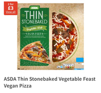 X2 ASDA Thin Stonebaked Vegetable Feast Vegan Pizza