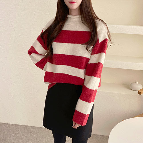 [101067945]APS stripe half neck