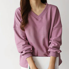 Load image into Gallery viewer, [111043409]warm)V neck sweatshirt