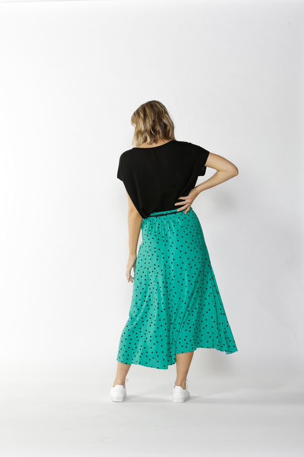 Ophelia Midi Skirt - Green & Black Spot || FATE + BECKER
