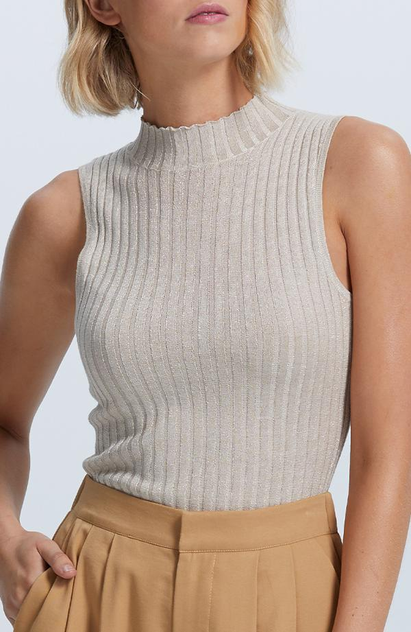 Shimmer Knitted Top - Palegold