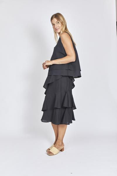 Marseille Ruffle Skirt- Black || SOLITO CLOTHING