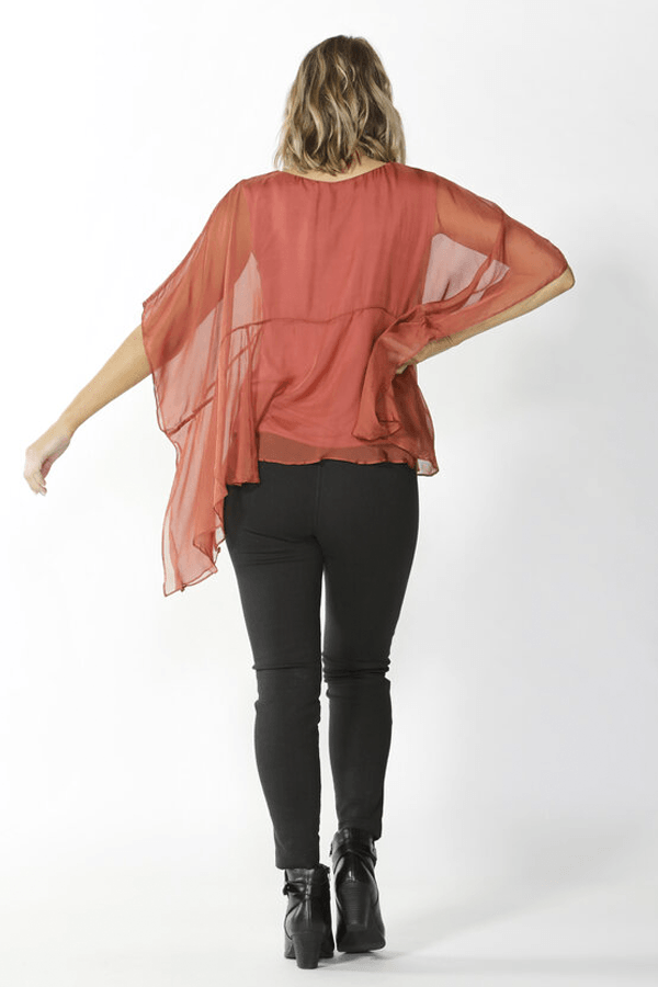 BELIZE SILK BLOUSE - CINNAMON