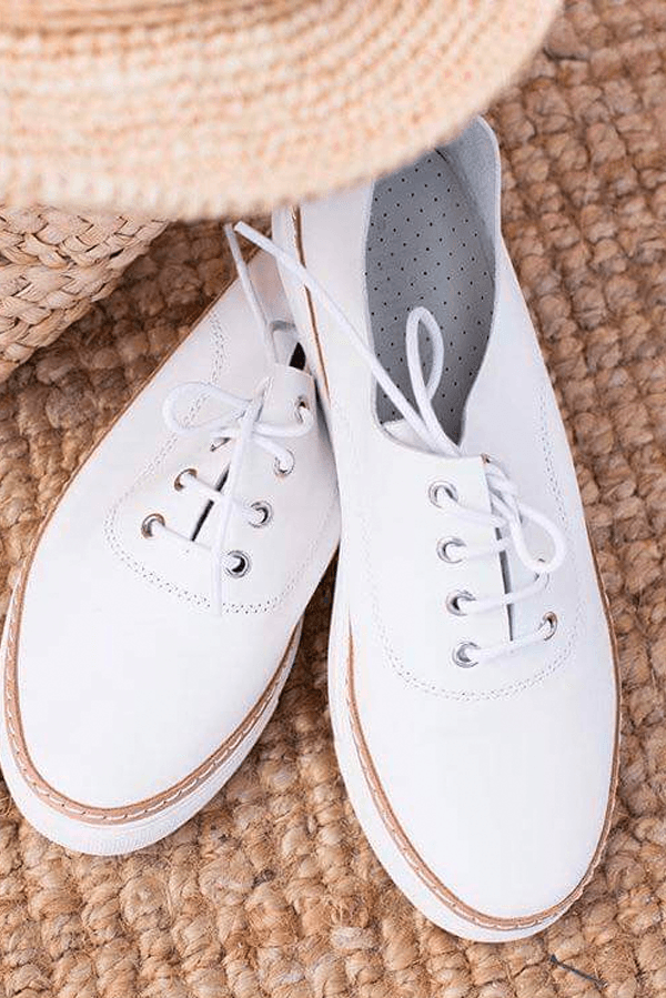 CRUISE SAND SHOE - WHITE SOFT LEATHER