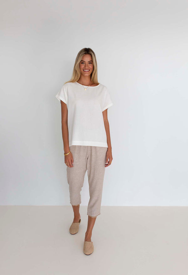 Lexi Cotton Top- White Top || Humidity Lifestyle