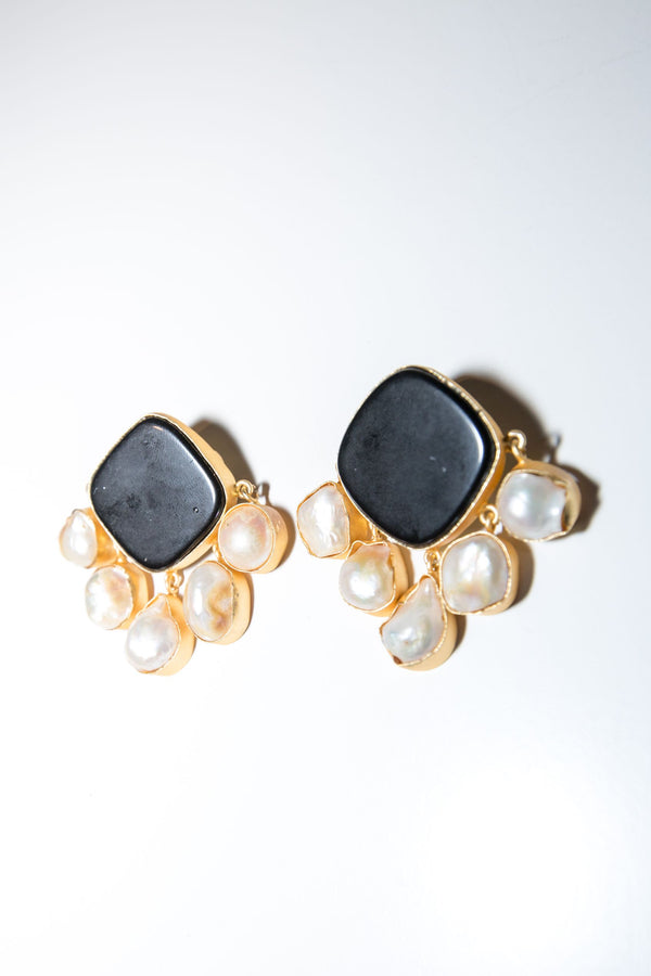 Royal Earrings - Black Oynx & mother of pearl