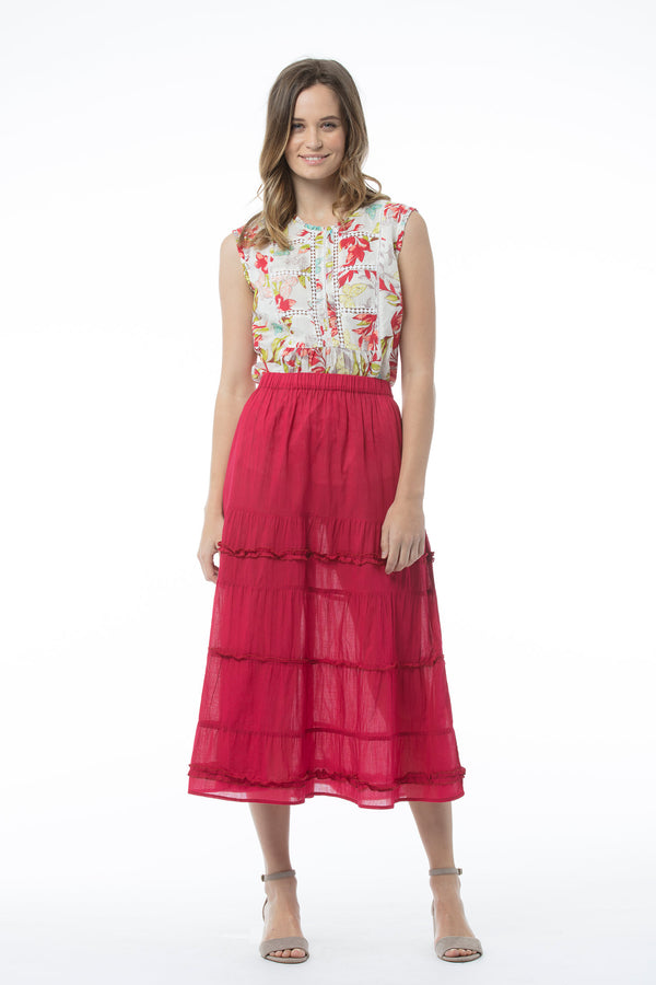 NAOMI SKIRT - POPPY RED