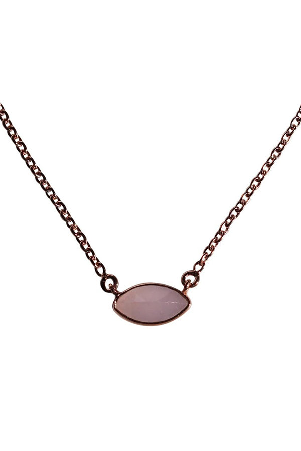 PRANA SHORT NECKLACE - ROSE GOLD & ROSE CHALCEDONY