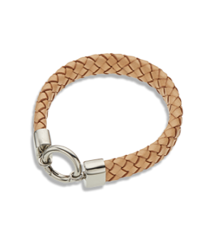 NATURAL LEATHER WIDE BRACELET - TAN