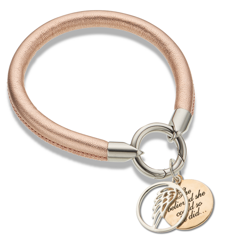 Rose Gold Leather Ring Clasp Bracelet