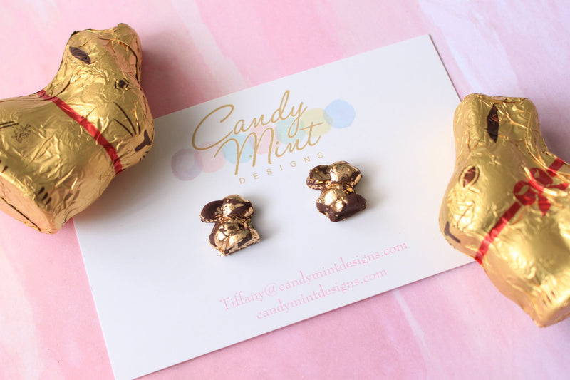 DARK CHOCOLATE GOLD BUNNY EARRINGS