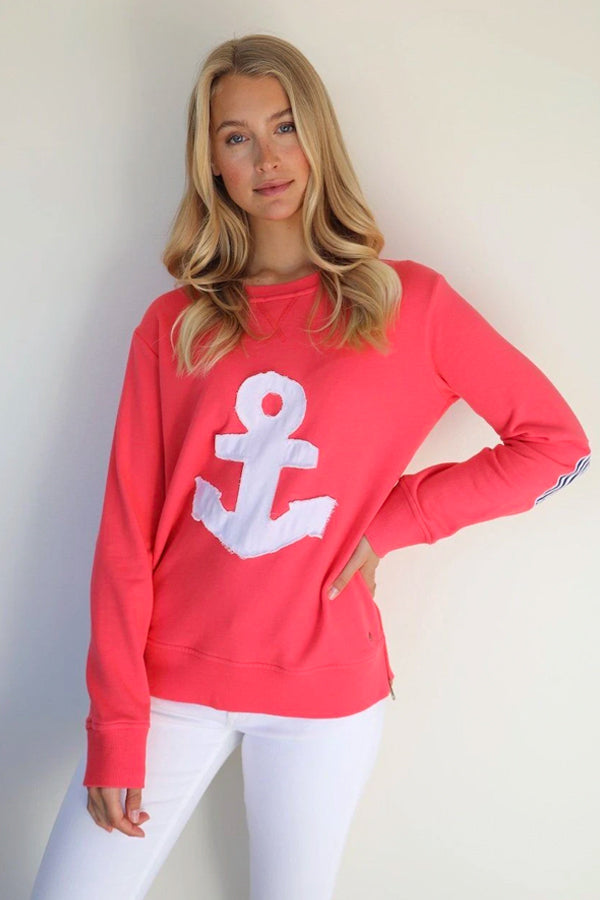 Frayed Anchor Zipside Portsea - Red ||EST 1971