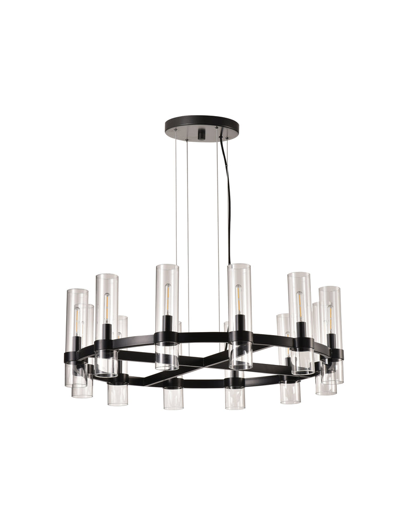 Black and Glass LED Pendant