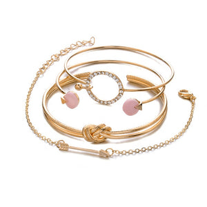 4 Pcs/ Set Classic Multilayer Crystal Gem Arrow Knot Bracelet Cuff Open Adjustable Gold Bracelet Set - NewTeknologyProducts