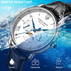 Luxury quartz watch moon phase waterproof for men - NewTeknologyProducts