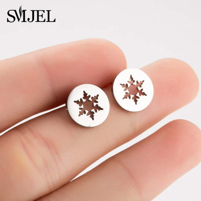 SMJEL Cartoon Animal Deer Stud Earrings Small Snowflake Earing for Girls Kid Stainless Steel Christmas Jewelry Women pendientes