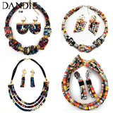 Dandie Stylish ethnic style cloth rope necklace with a set of earrings, vintage, simple feminine accessories