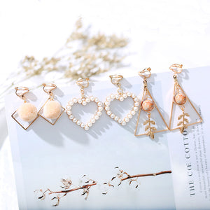 One Set 3 pairs Korea Style  Clip on Earrings No Pierced Simple Style Gold-color Geometric Clip Earrings