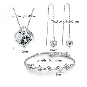 ANENJERY 5 Style 25 Sterling Silver Jewelry Sets Zircon Square Cube Necklace+Earrings+Bracelet For Women Gift