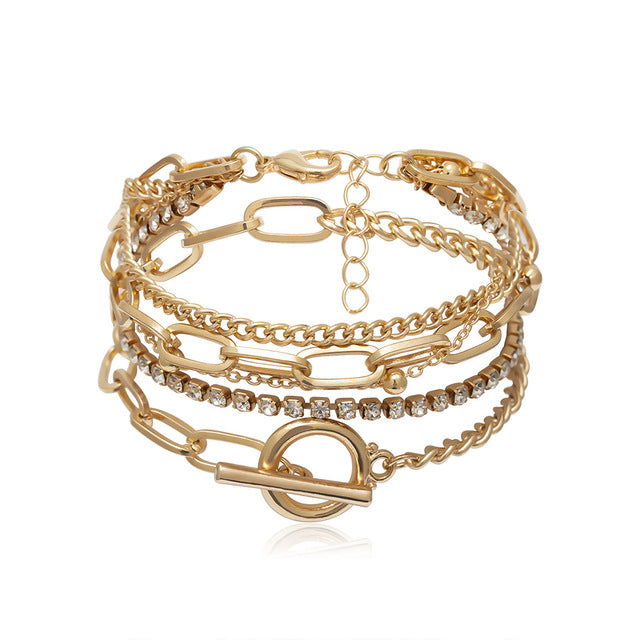 Best lady Vintage Gold ZA Chain Bracelets for Women Newest Fashion Jewelry Friendship Party Charm Bracelets Bangles Wholesale