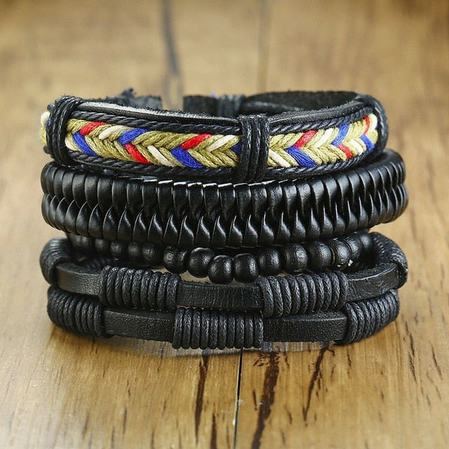 Vnox Mix 4Pcs/ Set Braided Wrap Leather Bracelets for Men Women Vintage Wooden Beads Ethnic Tribal Wristbands Bracelet Rudder