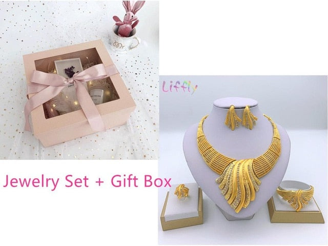 Liffly New Indian Jewelry Sets Multicolor Bridal Wedding Big Crystal Dubai Gold Jewelry Sets for Women Necklace Earrings