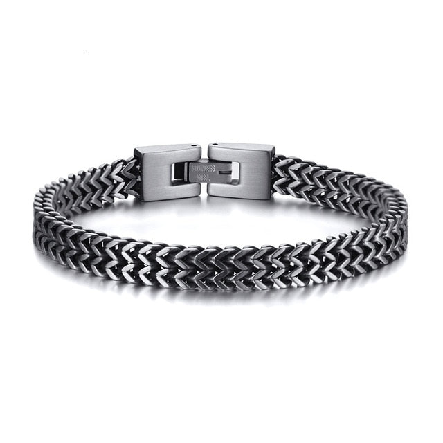 Amazing Price Stylish Stainless Steel Bali Foxtail Chain Bracelet for Men Double Link Chain Bracelets Male Jewelry