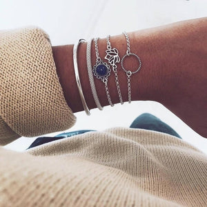 31 Styles Boho Mixed Leaves Letter Map Geometric Crystal Infinity  Pentagram Shell Multi-layer Chain Bracelet Women Wholesale