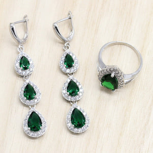 925 Sterling Silver Jewelry Sets Green Cubic Zircon Long Earrings/Pendant/Necklace/Ring Heart Bracelet for women Free Gift Box