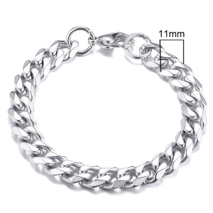 Vnox Mens Simple 3-11mm Stainless Steel Curb Cuban Link Chain Bracelets for Women Unisex Wrist Jewelry Gifts