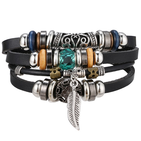 IFMIA Vintage Leather Bracelet Fashion Hand-knitted Multi-layer Leather Feather Leaf Bracelet and Fashion Men's Bracelet Gift