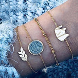 30 Style Female Boho Map Heart Beads Moon Arrow Turtle Kitten Elephant Pendant Tassel Chain Leather Bracelet Set  Combination