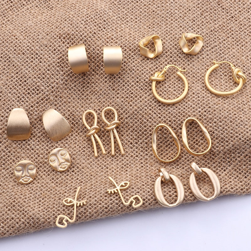 Fashion Korean Metal Gold Color Stud Earring Simple Geometric Camber Circle Knot Face Matte Irregular Ellipse Women Girl Jewelry