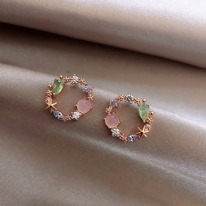 2020 New Arrival Classic Round Pink Green Crystal Stud Earrings for women Sweet Flower Cirlce Jewelry Fashion Brincos Gift